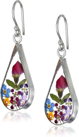 Amazon.com: Sterling Silver Multi Pressed Flower Teardrop Earrings: Clothing