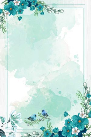 Watercolor Flowers Frame & Background