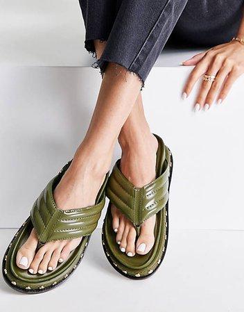 ASOS DESIGN Furnish premium leather toe post sandals in khaki | ASOS