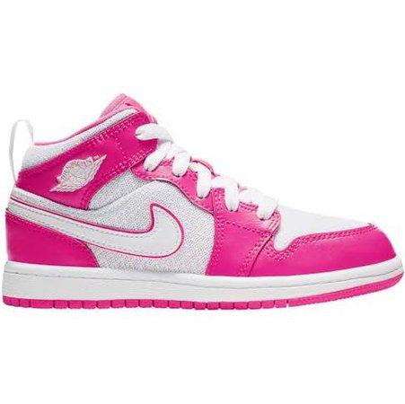 Girls Preschool - Jordan AJ 1 Mid Basketball Shoes Hyper Pink/White/White Size 11.0