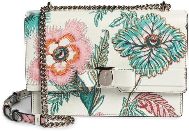 Vara Papavero Floral Print Leather Shoulder Bag