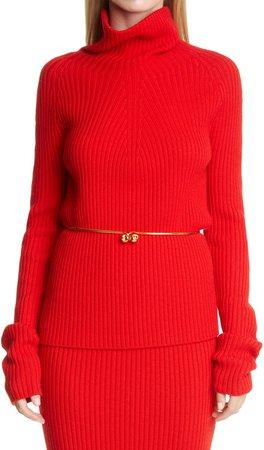 Rib Wool Turtleneck Sweater