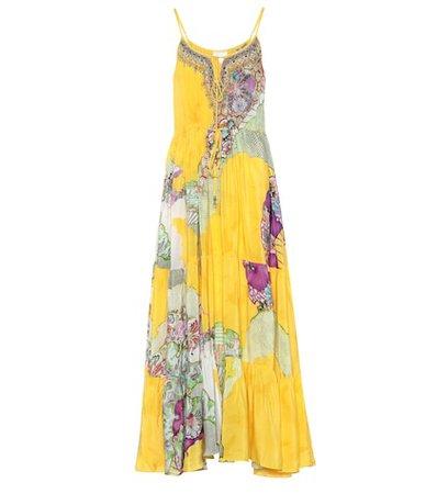 Embellished silk maxi dress