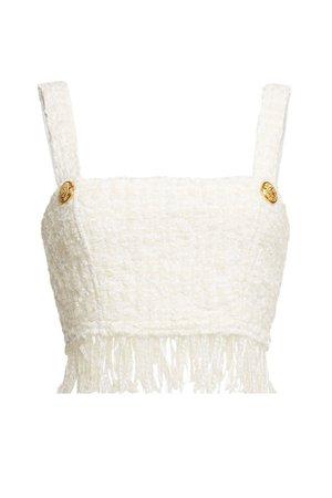 Balmain - Tweed Top with Wool - white
