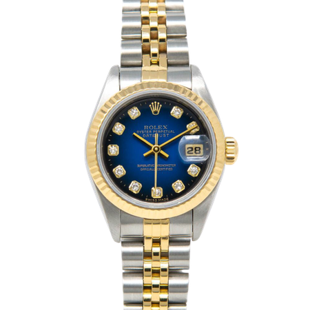 ROLEX LADY-DATEJUST, BLUE VIGNETTE DIAMOND DIAL, STEEL & GOLD, 69173