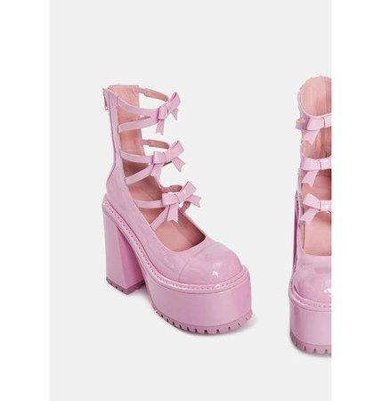 Sugar Thrillz Bow Tie Mary Jane Platforms - Pink | Dolls Kill