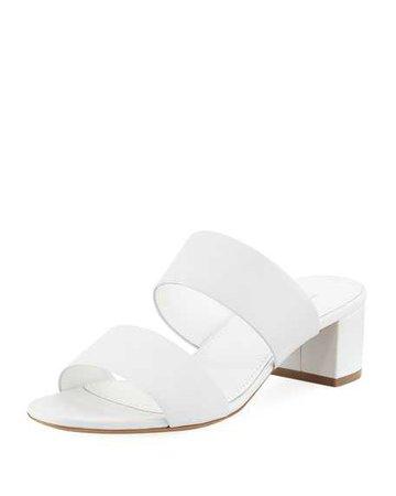 Mansur Gavriel White Double Strap Sandals