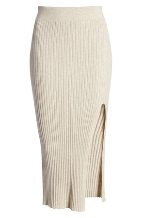Leith Ribbed Side Slit Knit Skirt | Nordstrom
