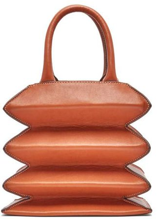 Hutton Accordion Leather Bag - Womens - Brown
