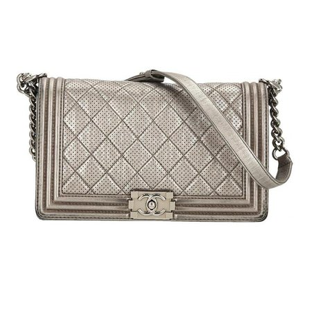 Chanel Silver Lambskin Leather Perforated New Medium SHW Boy Flap Bag – INSELLER