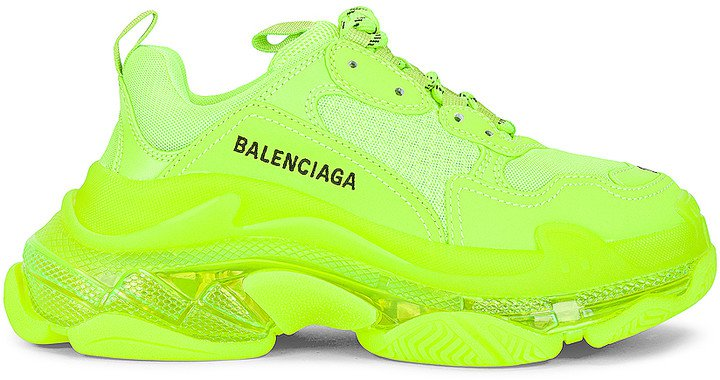 Triple S Clear Sole Sneakers in Fluo Yellow | FWRD
