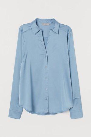 Blusa com decote em V - Azul claro - SENHORA | H&M PT