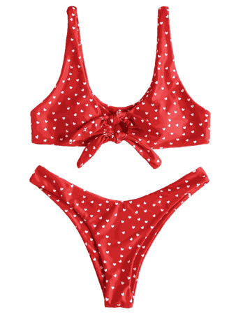 Knot High Leg Heart Bikini Set RED: Bikinis S | ZAFUL