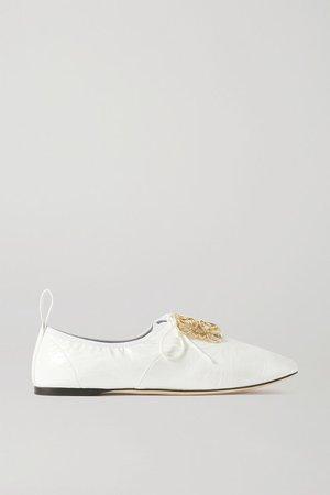 Logo-embellished Patent-leather Ballet Flats - White
