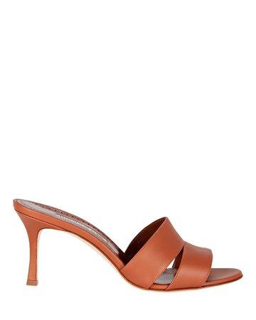 Manolo Blahnik Iacopo Leather Slide Sandals   INTERMIX®