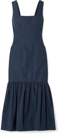 Ruffled Cotton-taffeta Midi Dress - Navy