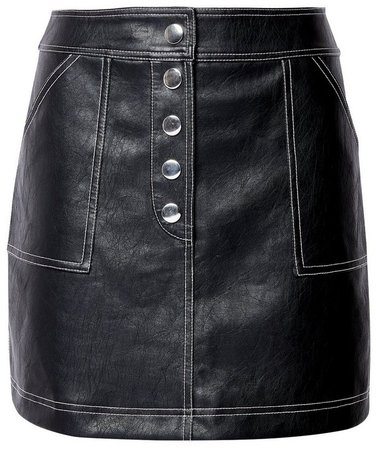 **Lola Skye Black PU Stitch Skirt