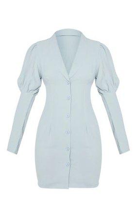 Sage Green Woven Puff Shoulder Button Down Blazer Dress   PrettyLittleThing