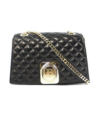 Balmain Black Quilted Leather Shoulder Bag