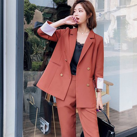 Fashion 2 Pieces Set Double Breasted Blazer & Long Pant Suit Women Casual Jacket Workwear Sets Femme High Quality Suit-in Pant Suits from Women's Clothing on Aliexpress.com | Alibaba Group