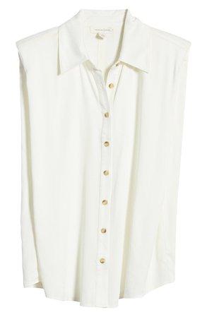 Treasure & Bond Shoulder Pad Sleeveless Button-Up Top   Nordstrom