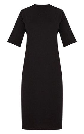 Black Oversized Midi T Shirt Dress | Dresses | PrettyLittleThing USA