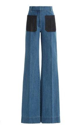 Patch-Pocket Rigid High-Rise Flared-Leg Jeans By Victoria Beckham   Moda Operandi