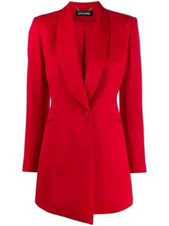 Red Styland Ruched Sleeve Blazer | Farfetch.com