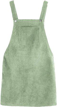 ROMWE Women's Straps A-line Corduroy Pinafore Bib Pocket Overall Dress Army Green XS at Amazon Women's Clothing store