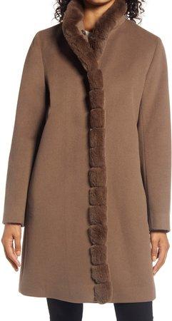 Wool Car Coat with Genuine Rex Rabbit Fur Trim