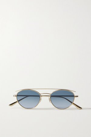 Gold + Oliver Peoples Hightree round-frame gold-tone sunglasses   The Row   NET-A-PORTER