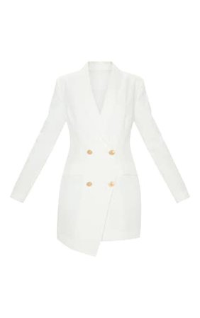 White Gold Button Blazer Dress | Dresses | PrettyLittleThing USA