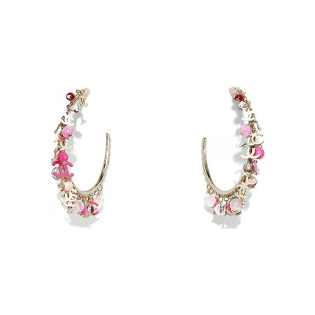 Metal & Glass Pearls Gold, Pink, Red & Pearly White Earrings | CHANEL