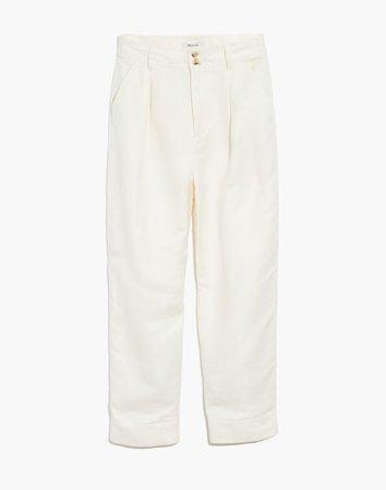 Linen-Blend Pleated Taper Wide-Leg Pants