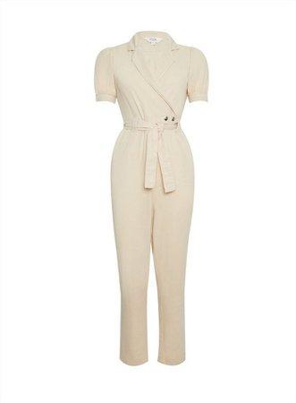 PETITE Ivory Puff Sleeve Jumpsuit   Miss Selfridge