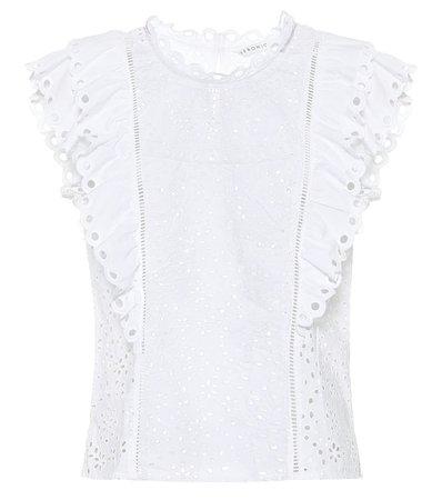 Broderie-Anglaise Cotton Blouse | Veronica Beard - Mytheresa
