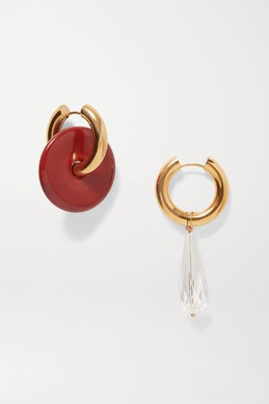 Gold Gold-tone, resin and crystal earrings | Timeless Pearly | NET-A-PORTER