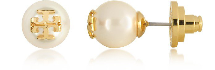 Tory Burch Ivory/Gold Crystal Pearl Stud Earrings at FORZIERI