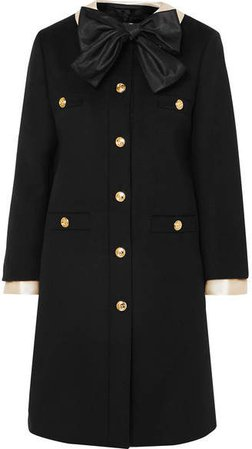 Silk Satin-trimmed Wool-felt Coat - Black