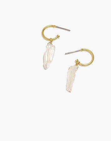 Freshwater Pearl Drop Huggie Hoop Earrings