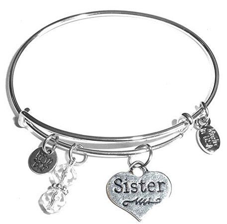 Amazon.com: Hidden Hollow Beads Message Charm (14 words to choose from) Expandable Wire Bangle Bracelet, in the popular style, COMES IN A GIFT BOX! (Sister (Heart)): Gateway