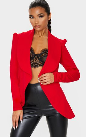 Red Waterfall Blazer | Coats & Jackets | PrettyLittleThing