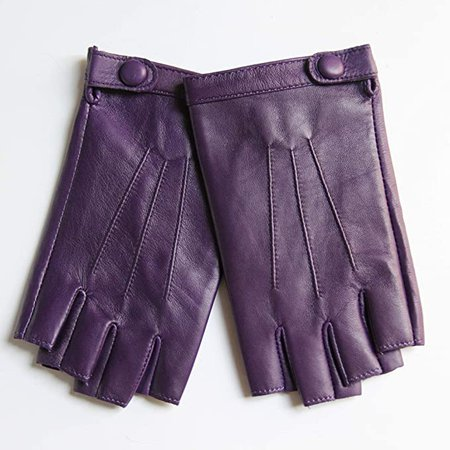 """Amazon.com: YISEVEN Women's Classic Sheepskin Leather Fingerless Gloves Lined Classic Soft Sheepskin 1/2 Half Finger Button Punk Motorcycle Cycling Fitness Touchscreen Warm Winter Glove, Purple 8.0""""/XL: Clothing"""