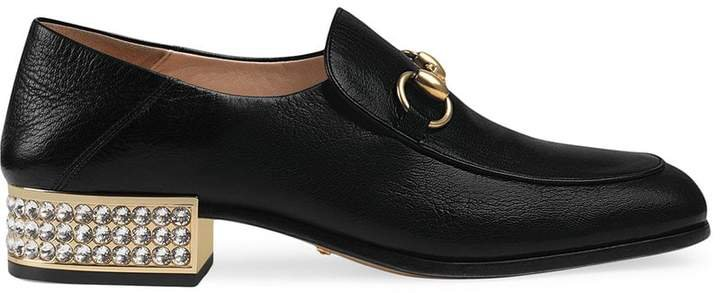 Horsebit leather loafers with crystals