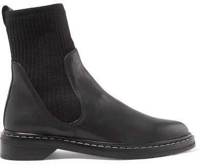 Fara Ribbed Cashmere-paneled Leather Chelsea Boots - Black