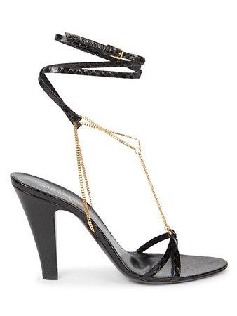 Saint Laurent Sue Chain Snakeskin Sandals | SaksFifthAvenue