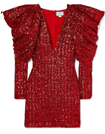 Draped sequinned chiffon mini dress