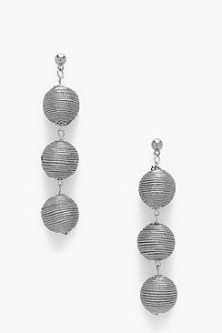 Ivy Metallic Triple Ball Drop Earrings