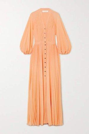 Pleated Silk-georgette Maxi Dress - Peach