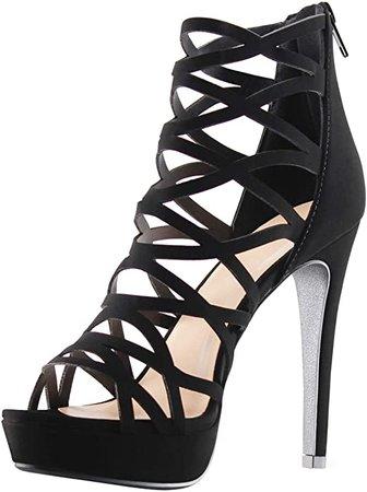 Amazon.com | MARCOREPUBLIC Alexandra Womens Open Toe High Heels Platform Shoes Stiletto Dress Sandals - (Black) - 7.5 | Heeled Sandals
